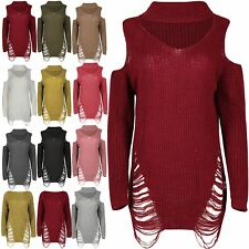 Women Chunky Knitted Ladies Cold Shoulder Choker Neck Destroyed Rip Jumper Dress