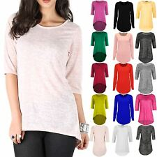Womens Ladies Burn Out 3/4 Sleeve Round Neck High Low Dip Hem Baggy Oversize Top