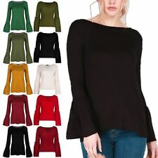 New Womens Ladies Stretchy Peplum Ruffle Bell Frill Long Sleeve Tee T Shirt Top