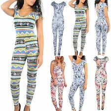 Womens Ladies Celebrity Printed Cap Sleeve Playsuit  All In One Keyhole Jumpsuit