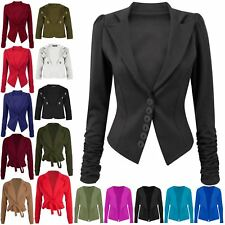 Womens Ladies 6 Buttons Ruched Long Sleeve Suit Poly Office Jacket Coat Blazer
