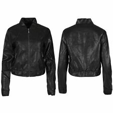 Womens Ladies Long Sleeve Baseball Collar Faux Leather Bomber Summer Coat Jacket