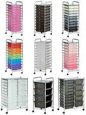 Portable 4/10/15 Drawers Cabinet Storage Trolley on Wheel Cart Home Office Salon