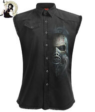 Spiral Direct Mens Bio Skull Sleeveless Stone Washed Work Shirt Black