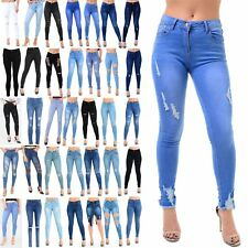 Womens Ladies Trousers Pants Ankle Ripped Destroyed Distress Skinny Denim Jeans