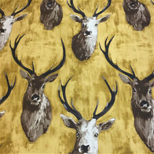 Edinburgh Weavers Stags Cotton Linen Gold Curtain Upholstery Fabric £8.85 mt