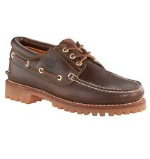 Timberland Classic 3 Eye Lug Shoes Leather Hand made Boat Deck Shoe Dark Brown