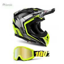 2018 Airoh Aviator 2.2 Warning Motocross MX Helmet - Yellow - INC. FREE GOGGLES!