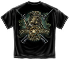 Marine Corps, USMC T-Shirt Marine Devil Dog First In Last Out Black