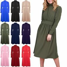 New Womens Ladies Polo High Roll Neck Waist Band Pleated Flared Swing Midi Dress