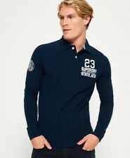 New Mens Superdry Classic Long Sleeve Expedition Polo Shirt Navy Blue Grindle