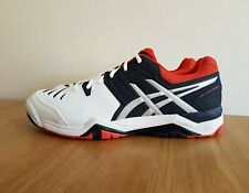 Asics Men Gel Challenger 10 Tennis Shoes Trainers White/Sky Captain/Orange E504Y