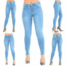 Ladies Womens Ripped Raw Edges Destroyed Frayed Stretchy Denim Skinny Fit Jeans