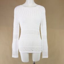 Marc CAINO PULLOVER DONNA N1 N2 34 36 bianco pizzo all'uncinetto cotone
