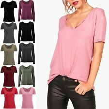 Womens Ladies Front Cross Over Straps Short Sleeve Casual Basic Tee T Shirt Top
