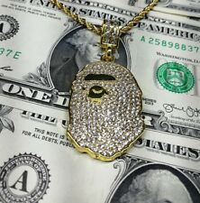 Bape Bathing Ape Pendant & Necklace | Gold Chain | Custom Iced | Free Sticker