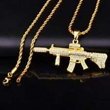 Gun M4 Gewehr Pendant & Necklace | Custom Iced out | Gold Chain | Free Sticker