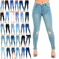 Ladies Womens Whiskers Hem Faded Ripped Slim Skinny Fit Frayed Pants Denim Jeans