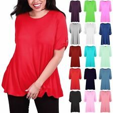 Womens Short Turn Up Sleeve Button Shirt Ladies Flared Swing Dress Top Plus Size