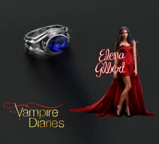 The Vampire Diaries Elena Gilbert Oval Blue Sapphire Silver Plated Daylight Ring