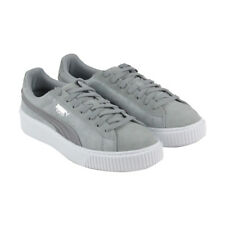 Puma Platform Safari Womens Gray Suede Lace Up Sneakers Shoes