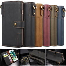Classic Genuine Real Cow Leather Flip Wallet Case Cover Stand for Various Phones