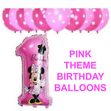 "30""Disney Mickey/Minnie Mouse Number '1' Foil Balloon Pink/Blue Polka Dot Baloon"