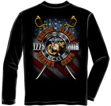 USMC Marine Corps Birthday 2016 Long Sleeve Black T-Shirt