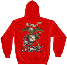 Marine Corps, USMC Hooded Sweat Shirt Eagle Usmc Red