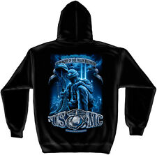Marine Corps, USMC Hooded Sweat Shirt Usmc Never Forget Black
