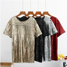 Donna Strass Bling T SHIRT ABITO PAILLETTES lucido maglia maglia JAZZ