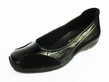 Donna Easy B nero pelle vestibilità larga Scarpe SLIP-ON STILE Ripon
