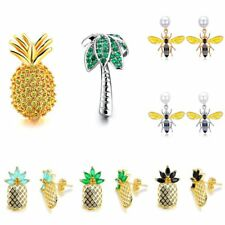 Fashion Elegant Bees Pineapple CZ Ear Stud Dangle Drop Earrings Womens Jewellery