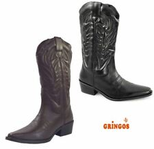 Gringos Mens Pull On Smooth Leather Cowboy Western Heel Boots