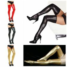 Sexy Women Long Spandex Latex Rubber Lace Stockings Thigh High Tights Socks