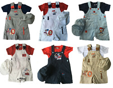 NEW BABY BOYS DUNGAREE 3 PIECE SET OUTFIT SIZE 6-12, 12-18, 18-23 MONTHS