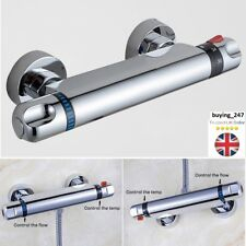 "Chrome Thermostatic Bar Mixer Shower Valve Tap Bottom 1/2"" Outlet For ShowerHose"