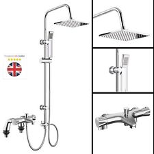 MODERN THERMOSTATIC BATH SHOWER MIXER TAPS DECK MOUNTED CHROME BATHROOM AND KIT