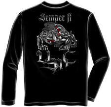 Marine Corps, USMC Long Sleeve Chrome Dog Semper Fi Black