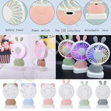 Portable Handheld Cooling Fan Colorful LED Bear Rabbit Shaped USB Rechargeable