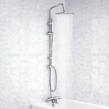 BATH SHOWER MIXER THERMOSTATIC VALVE TAP 3 WAY USE DUAL SQUARE HEAD RAIL HOSE