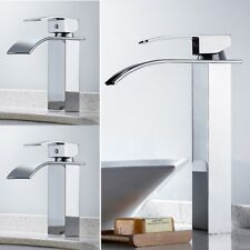 Modern Bathroom Counter Taps Waterfall Basin Mixer Tap Sink Chrome Square faucet