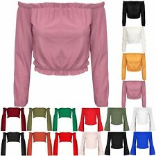 Ladies Womens Casual Long Sleeve Off The Shoulder Ruched Bardot Vest Cropped Top