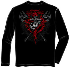 Marine Corps, USMC Long Sleeve Marine Axes Red Tribal Black