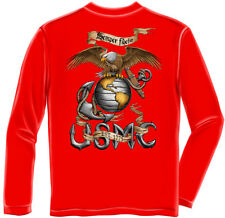Marine Corps USMC Long Sleeve T-Shirts Eagle USMC Red