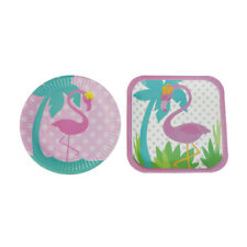 8pcs Flamingo Disposable Paper Plate for Birthday Tropical Hawaiian Party TK