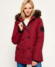 New Womens Superdry Everest Parka Jacket Wine Red