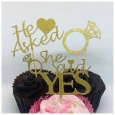 12 ENGAGEMENT CUPCAKE TOPPERS GOLD SILVER HE ASKED SHE SAID YES HEN PARTY