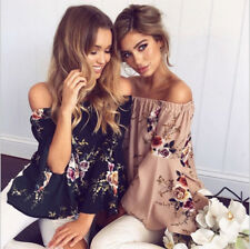Women's Summer Floral Print Off Shoulder Blouse Long Sleeve Casual T Shirts Tops