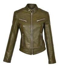 Womens biker real leather jacket OLIVE GREEN slim fit zip up TOP QUALITY coat